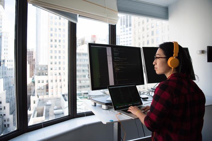 Developer reading code